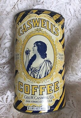 Vintage 1924 Caswell's Coffee Can Yellow & Blue 3 lbs. San Francisco Antique