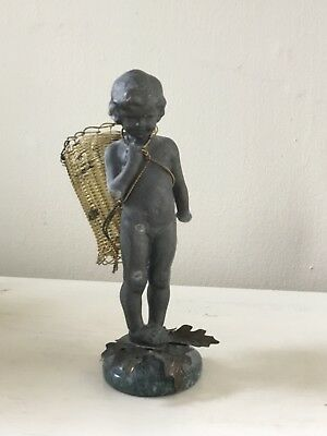 Petite Choses Metal and Brass Child Nymph Fairy with Votive Candle Holder