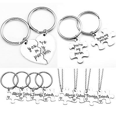 2pcs Keyring Necklace Set Silver Metal Puzzle Heart Keychain Pendant Couple Gift