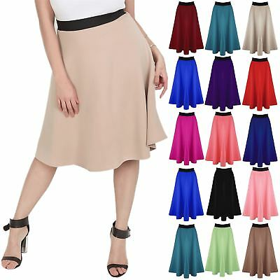 Plus Size Womens Skater Mid Length Stretch Flared Scuba Ladies Long Swing Skirt