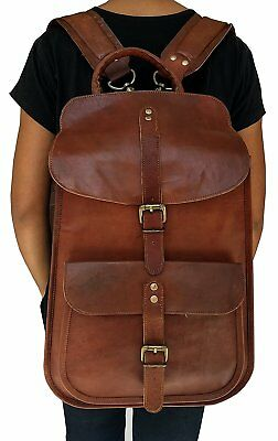 VINTAGE COUTURE Leather Backpack School College Bookbag Laptop Computer Backpack