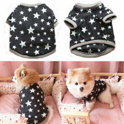 Dog Fleece Clothes Autumn Winter Warm Stars Pattern Pet Sweater For Small Dogs