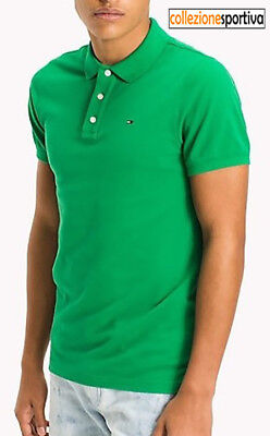 POLO TOMMY HILFIGER BASIC SLIM FIT S/S 2018 -DM0DM00488-391 col.verde/jelly bean