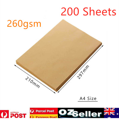 200 Sheets A4 Brown Kraft Paper 250GSM Natural Recycled Cards 297mmx210mm AU