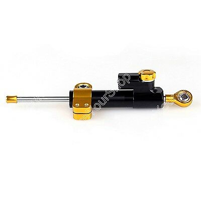 Universal Motorcycle CNC Adjustable Steering Damper Stabilizer Top Black AU