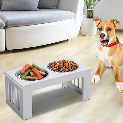 PawHut Raised Pet Feeder Double Staninless Steel Bowls Water White Middle