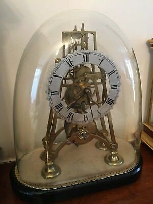 Antique fusee Skeleton Mantel Clock Glass dome