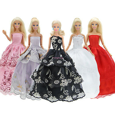 5 Lady Dress Party Evening Ball Gown Pink Purple Clothes For Barbie Doll Toy 5GA