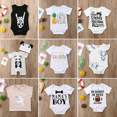 Newborn Baby Boy Girl Romper Bodysuit Summer Jumpsuit Oufits Sunsuit Clothes