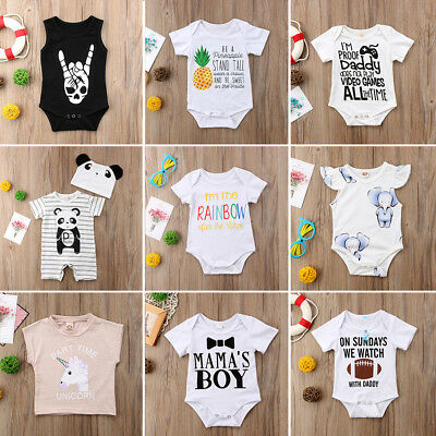 Newborn Baby Boy Summer Cotton Casual Romper Jumpsuit Bodysuit Clothes Outfits