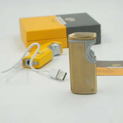 New Cohiba Golden Metal USB Recharge 3 Torch Jet Flame Cigar Lighter With Punch