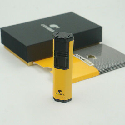 Cohiba Yellow Metal Gas Butane 2 Torch Jet Flame Cigar Cigarette Lighter W Punch
