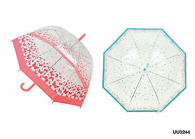 Ladies Clear Dome Umbrella with Printed Design Outdoors Rain Adults