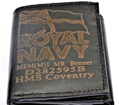 Royal Navy Uk Army Personalised Genuine Leather Wallet With Any Name & Number