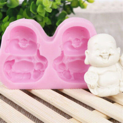 Buddha Smiling Face Cake Mould Candle Soap Soft Silicone Mold Decorating Tool