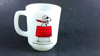 Fire King Curse you Red Baron! Snoopy milk glass coffee mug red graphics