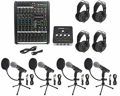 Podcast Studio Bundle w/Mackie 8-Ch Mixer+(4) Mics+Stands+(4) Samson Headphones