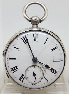 Antique solid silver gents LONDON pocket watch 1883