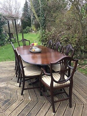 Antique style Vintage dining table and 8 chairs, extendable
