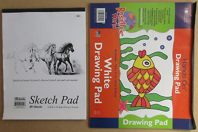 "New Bazic Sketch Pad 550 Book 9"" X 12"" 40 Quality Art Paper Sheets Pencil Pastel"
