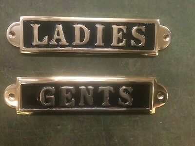 Lovely quality heavy Solid Brass Ladies & Gents toilet Signs