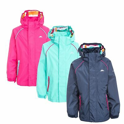 Trespass Lunaria Girls Waterproof Jacket Kids School Raincoat Pink Navy Mint
