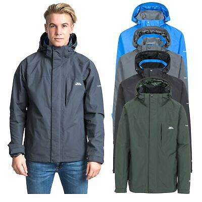 Trespass Edwards II Mens Waterproof Jacket with Hood in Green Blue & Grey