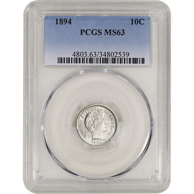 1894 US Barber Silver Dime 10C - PCGS MS63