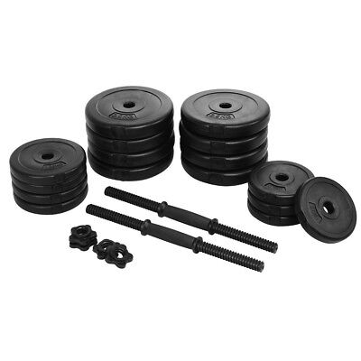 64LB Weight Adjustable Cap Gym Barbell Plates Body Workout Sport Dumbbell Set US