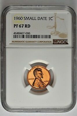 1960 Small Date 1c Proof Lincoln Cent NGC PF 67 RD