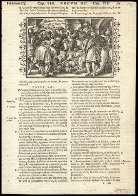 1st Edition Bibla Sacra Leaf 4th Kings Woodcut Guard is Trampled at The Gate