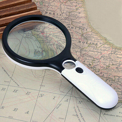 Handheld 45X Magnifying Reading Glass Lens Jewelry Loupe With 3 LED Light PR