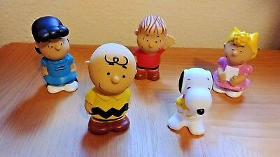 Vtg 1980's Set/5 Charles Schulz Peanuts Characters-Snoopy, Charlie Brown, etc.