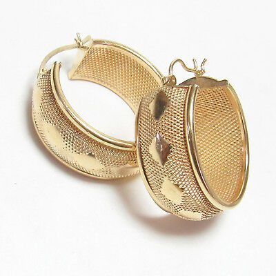 Large Estate 14K Yellow Gold Wide Textured Hoop Style Earrings