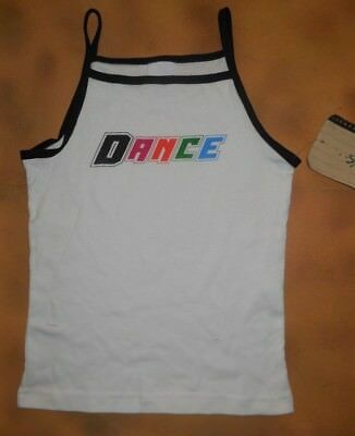 NWT Leo's White Camisole Top Black Trim Dance Girls Sizes 15-454