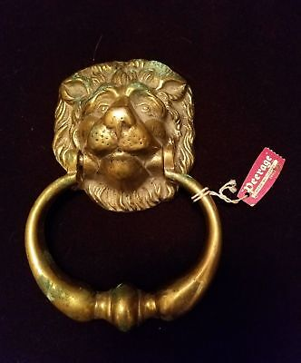England Made Brass Door Knocker Lion Head Vintage Old Lions GREAT PATINA
