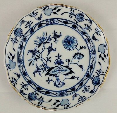 Antique GERMAN Porcelain BLUE & WHITE MEISSEN Dinner PLATE Floral ONION Pattern