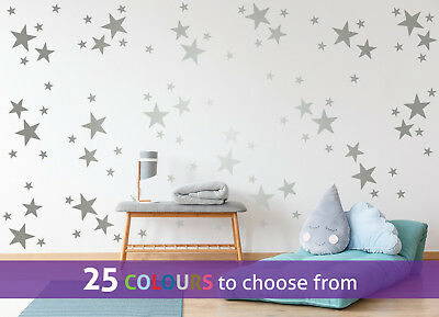 MIXED size 4, 3, 1.25 inch STARS pack of 96 wall art stickers decal baby nursery