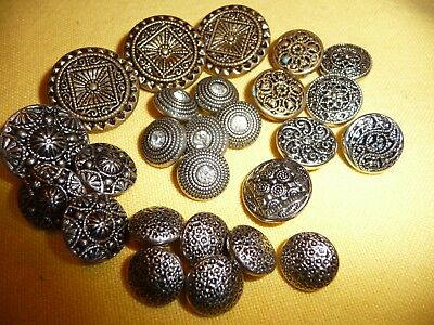 Lot of 26 Metal & Brass Sparkler Mirror & Filligree VTG. & Rhinestone Buttons