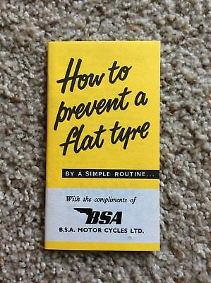 1960s BSA british motorcycle flat tyre booklet