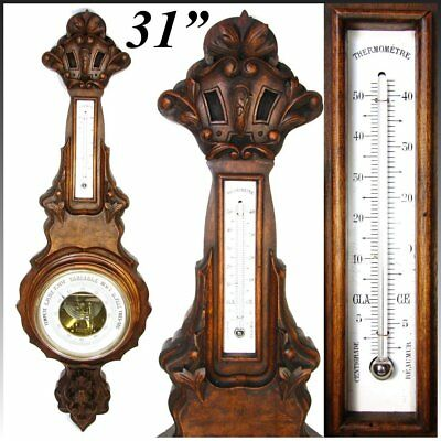 "Antique Victorian 31"" Wall Barometer & Thermometer, Lovely Carved Walnut Case"