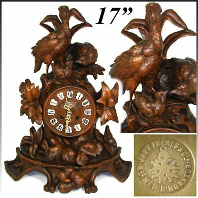 """Large Antique Black Forest Carved 17"""" Mantel Clock, Three Game Birds & Foliage"""