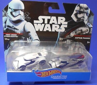 Star Wars Hot Wheels Character Cars First Order Stormtrooper & C. Phasma DXP99