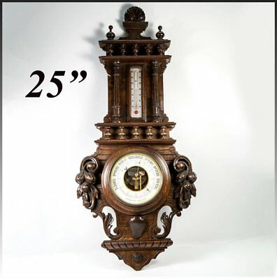 "Antique Black Forest Carved Wood 25"" Cased Aneroid Barometer, Thermometer, Fruit"
