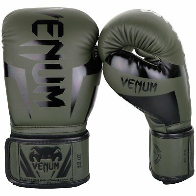 Venum Elite Boxing Gloves Sparring Muay Thai MMA Kickboxing 10-16oz Khaki / Blue