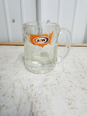 Old Vintage A&W Soda Root Beer Glass Mug United States Map Logo Advertising Ad