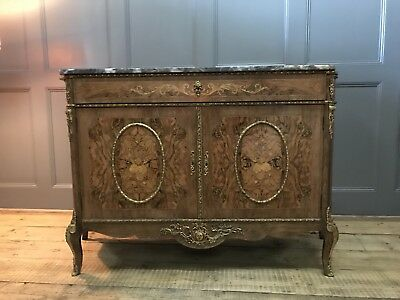 Louis Empire Rococo Walnut Sideboard With Marble Top