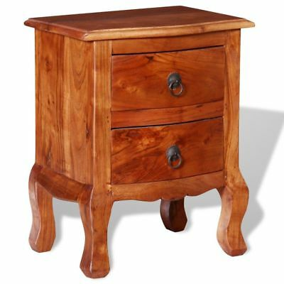 vidaXL Nightstand Bedside Table Side Cabinet with Drawers Home Solid Acacia Wood