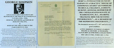 Canada House Of Commons Hansard Parliament Debates Great Fire Letter Signed Vf