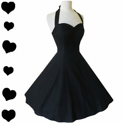 Black HALTER Dress 50s Full Skirt Rockabilly Pinup Bridesmaid Party L XL NWT NEW